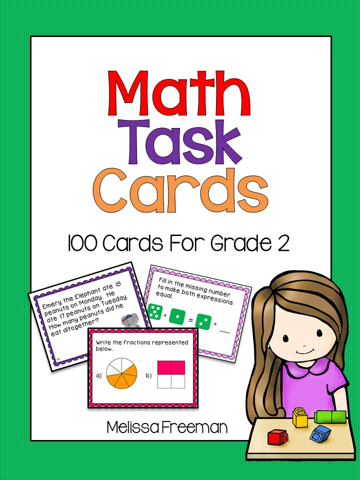 Use These 100 Math Task Cards For Grade 2 To Teach Graphing Probability Addition Subtraction Fractions 3d Shapes Mo Math Task Cards Task Cards Math Tasks