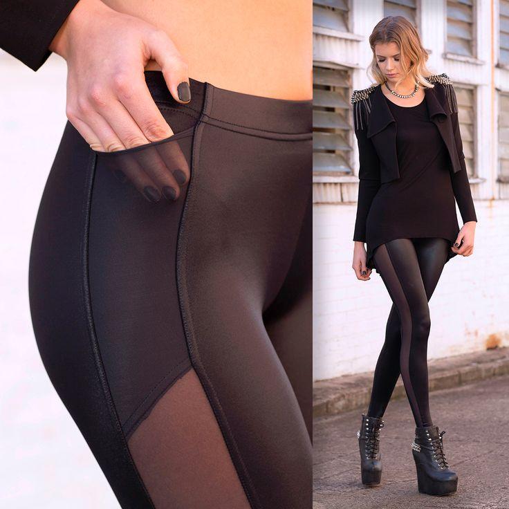 Sz L - slightly damaged in pocket $60 Racing Stripe Pocket Leggings - LIMITED (WW $90AUD / US $72USD) by Black Milk Clothing