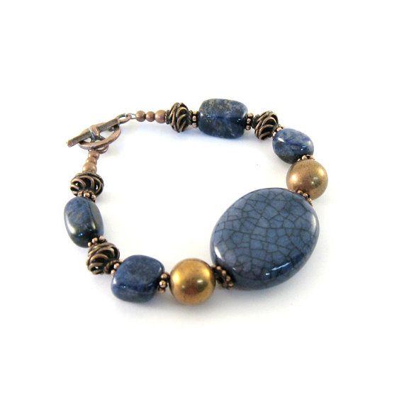 Blue Ceramic Bracelet Antique Copper Sodalite  by CinLynnBoutique, $24.00: Copper Sodalite, Ceramics Bracelets, Antique Copper, Ceramics Beads, Antiques Copper, Blue Ceramics, Bracelets Antiques, Ceramic Bracelets, Copper Beads
