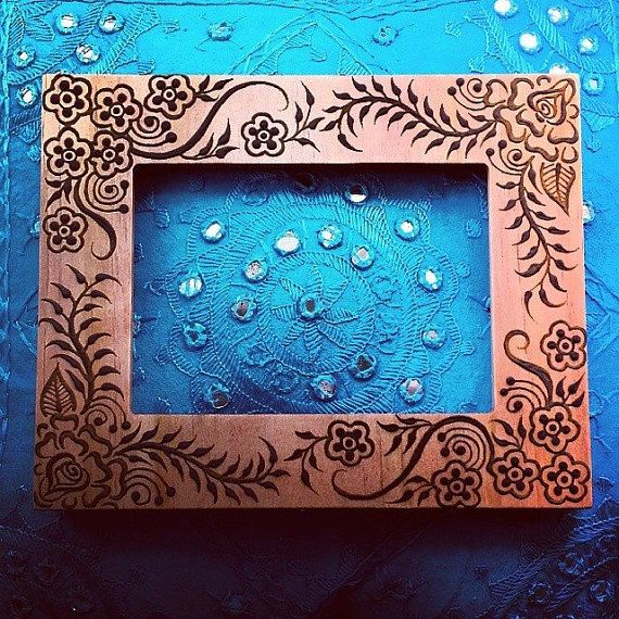 5x7 inch rose Wood Henna Mehendi Frame with gulf by NewWorldHenna, $38.00