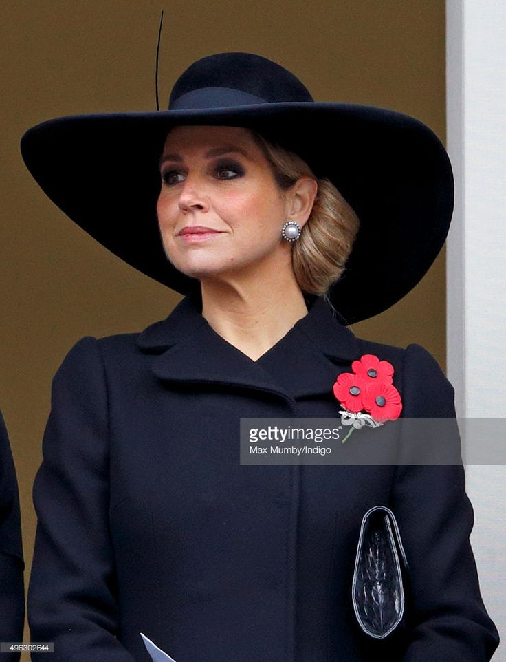 Queen Maxima of the Netherlands attends the annual Remembrance Sunday Service at the Cenotaph on Whitehall on November 8, 2015 in London, England. The National Service of Remembrance takes place at the Cenotaph in Whitehall, London.  The Queen, senior politicians, including the British Prime Minister and former British Prime Ministers, alongside representatives from the armed forces pay tribute to those wh...