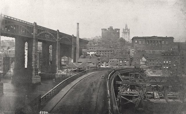 High Level Bridge and Old Tyne Bridge with the Swing Bridge being built beside it, Newcastle upon Tyne c.1871