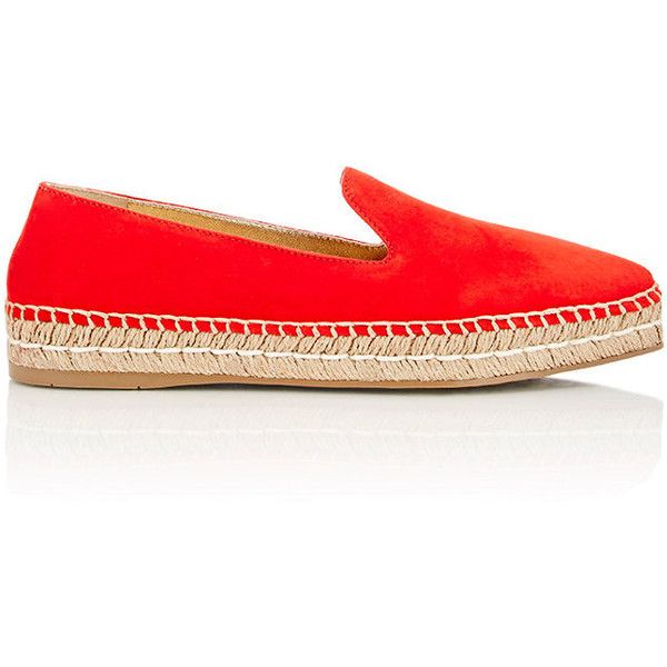 Prada Women's Suede Pointed-Toe Espadrilles ($299) ❤ liked on Polyvore featuring shoes, sandals, red, prada sandals, woven sandals, red suede shoes, suede shoes and suede sandals