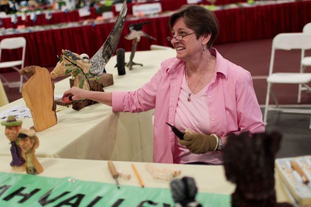 Woodcarver shares her talent at Utah County Fair