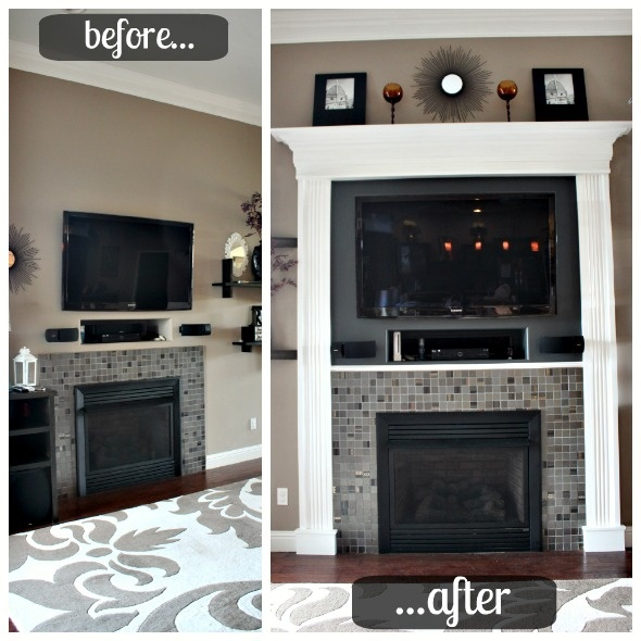 Molding around TV. Start with this easy/cheap fix, use same color in Media Niche, upgrade to nicer time when I do built-ins at the niche.