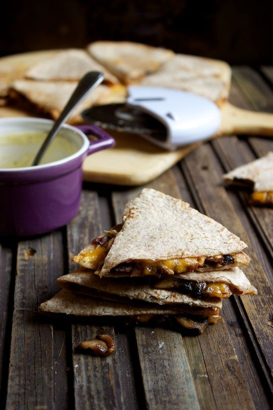 caramelized onion, mushroom and prosciutto quesadillas