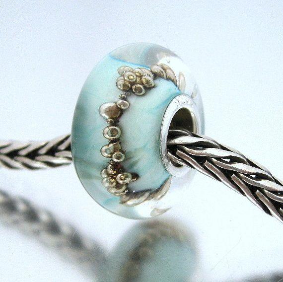 Trollbead Style Lampwork Glass Bracelet Charm Bead - Bubble Skies - european charm bead bracelets, SRA UK
