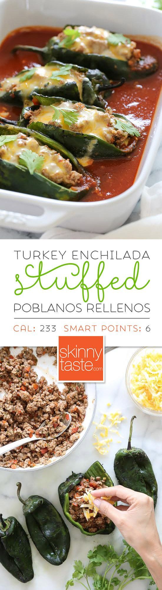 These baked Turkey Enchilada Stuffed Poblanos Rellenos are stuffed with a flavorful ground turkey filling, topped with my homemade enchilada sauce and cheese. These are so much lighter than restaurant chile rellenos which are typically battered in egg and (Ground Recipes Turkey)