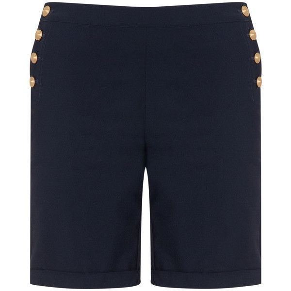 Manon Baptiste Dark-Blue Plus Size Gold button Bermuda shorts ($125) ❤ liked on Polyvore featuring shorts, plus size, nautical shorts, plus size bermuda shorts, plus size shorts, dark blue shorts and women's plus size shorts