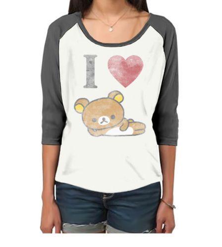 Goodie Two Sleeves I Love Rilakkuma Ladies Raglan Tee,Bear,Cute,Kawaii,Kitsch | eBay