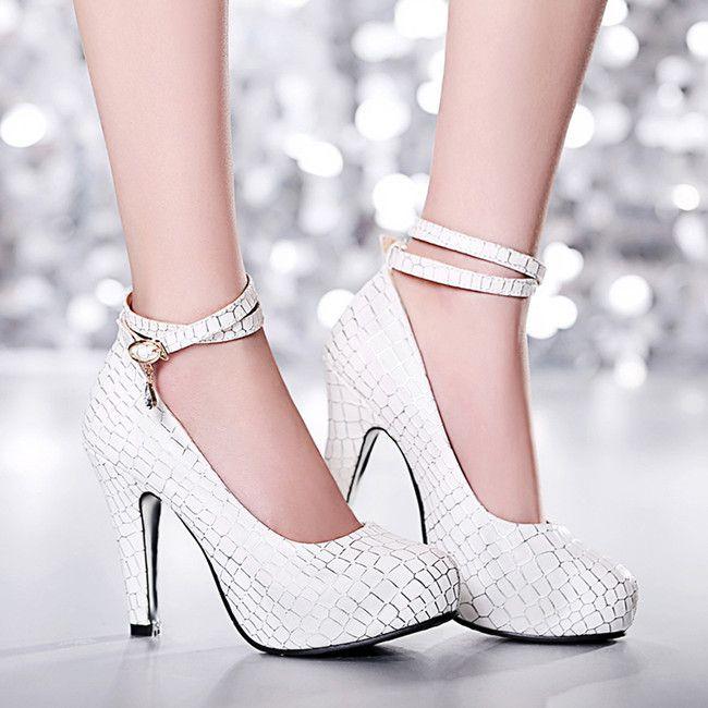 2016 Новые Туфли На Каблуках Женщины Насосы Платформы Обувь На Шпильке секси Дамы Розовые Туфли Лодыжки Ремень Женщин Белые Туфли Плюс размер