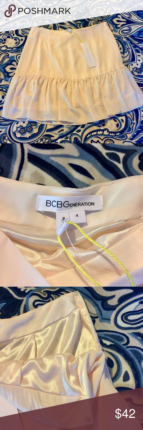 "BCBG Generation tiered mini skirt An absolutely delicate and dainty tiered mini skirt. Y BCBG Generation.  Beautifully made with delicate soft polyester, darted waistband with zip and clasp side enclosure.  Bottom ruffle features a lovely intricate lace.  100% lined.  Color : Soft Pink.  size: 4.  Length is 16"". Waist measures 29"" and sits just above hips. BCBGeneration Skirts Mini"