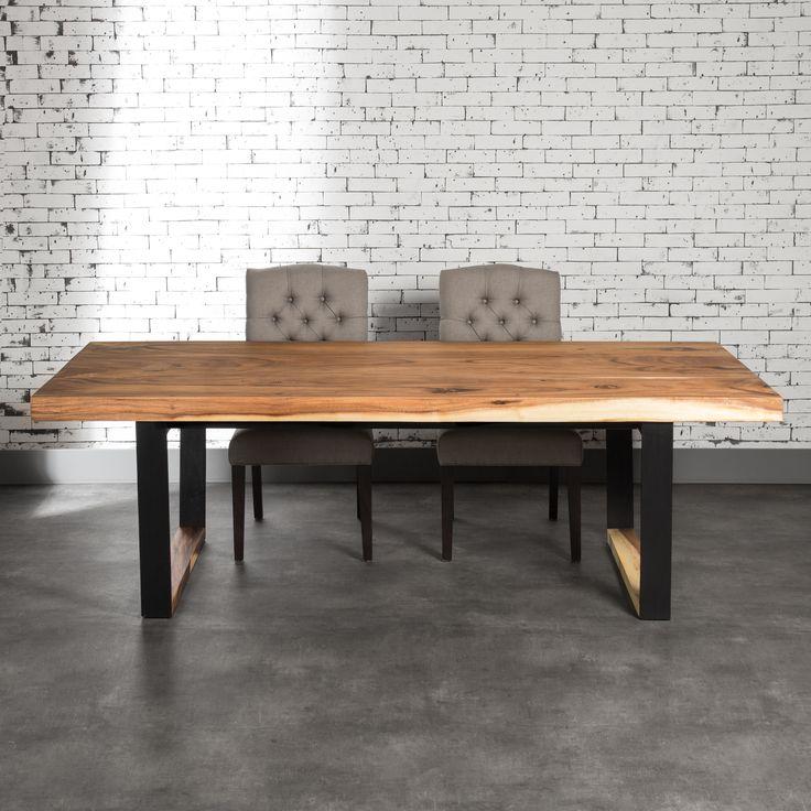 Table diner gaby en suar avec pattes noir en m tal for Table salle a diner