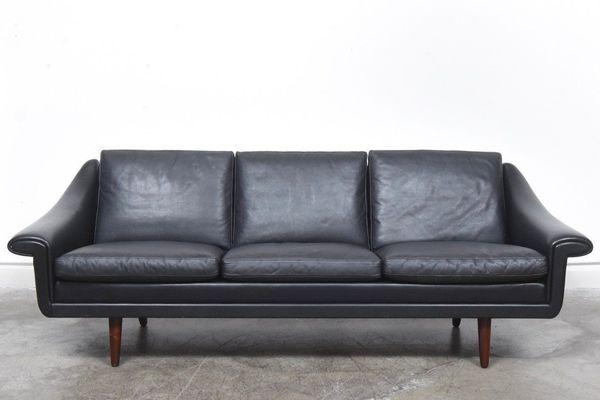 Vintage Mid Century Danish Aage Christiansen Matador Leather Sofa 1960's | vinterior.co