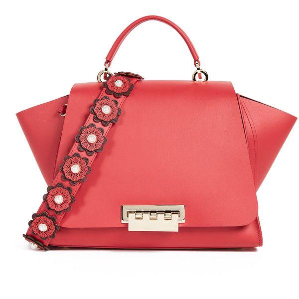 ZAC Zac Posen Eartha Iconic Soft Top Handle Satchel (1.740 BRL) ❤ liked on Polyvore featuring bags, handbags, geranium, zac zac posen bag, red bag, purse bag, handbag purse and zac zac posen