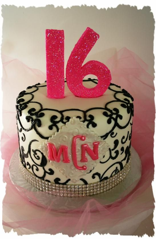 Like to stay of the simpler side? This cake is the definition of classy- from the classic color match-up to the initials decorating the side. Perfect for the girl who likes to stay simple but elegant.