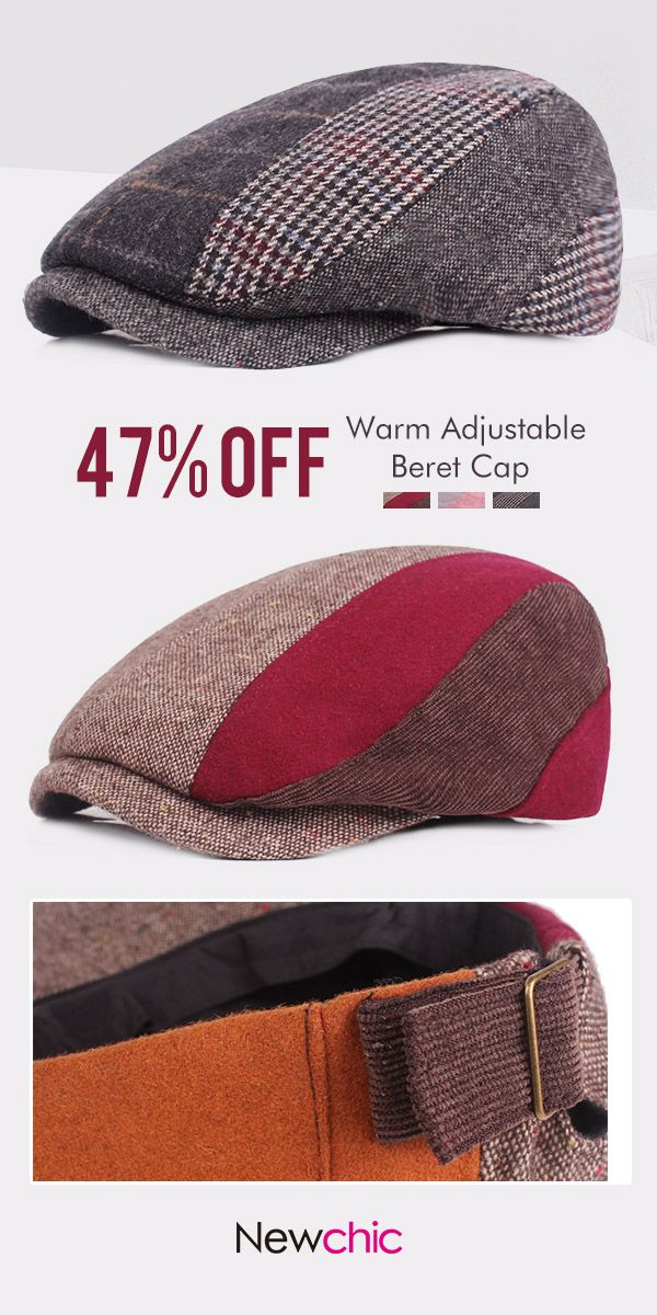 3a1b01e172a Vintage Adjustable Cotton Stitching Beret Cap Casual Warm Sunshade Newsboy  Forward Hats  cap  hat  outdoor  casual  style
