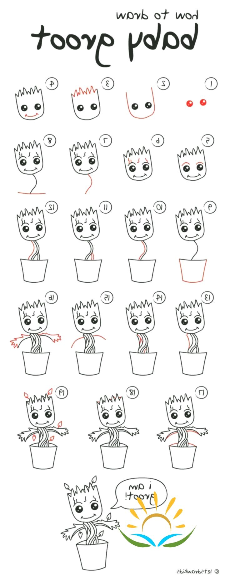 groot easy step draw drawing drawings pencil dayna kebze steps