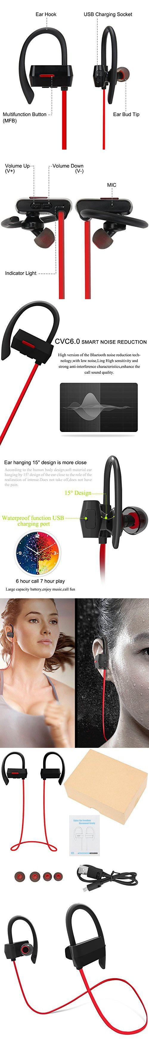 Bluetooth Headphones, Danibos Upgraded Wireless Stereo Headphones Hands-free Bluetooth Headset V4.1 In-Ear Noise Cancelling Sweatproof Sports Earphones for iPhone, Samsung and Android Phones.