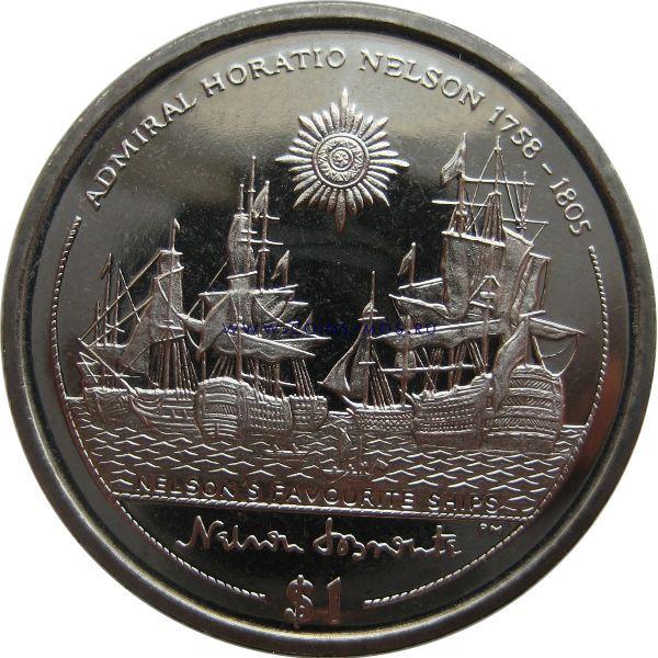 Остров Мэн. Мореплаватель «Адмирал Горацио Нельсон»  1 доллар 2005 г.