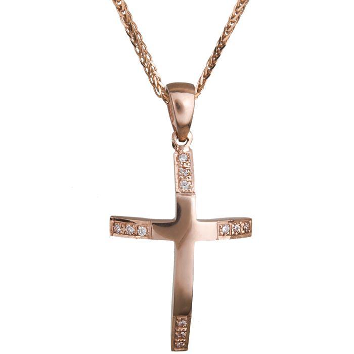 Σταυρός για κορίτσι σε ροζ χρυσό Κ14 C020470