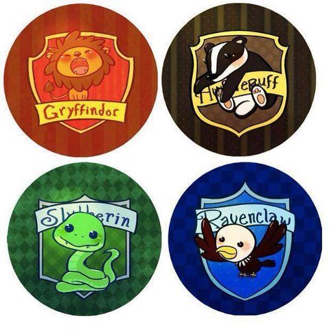 chibi harry potter houses! GO GO GRYFFINDOR but secretly I'd also love to be in Ravenclaw and I'd get Slytherin because of Snape. But I am SO not getting a house that brought us DEADward.....