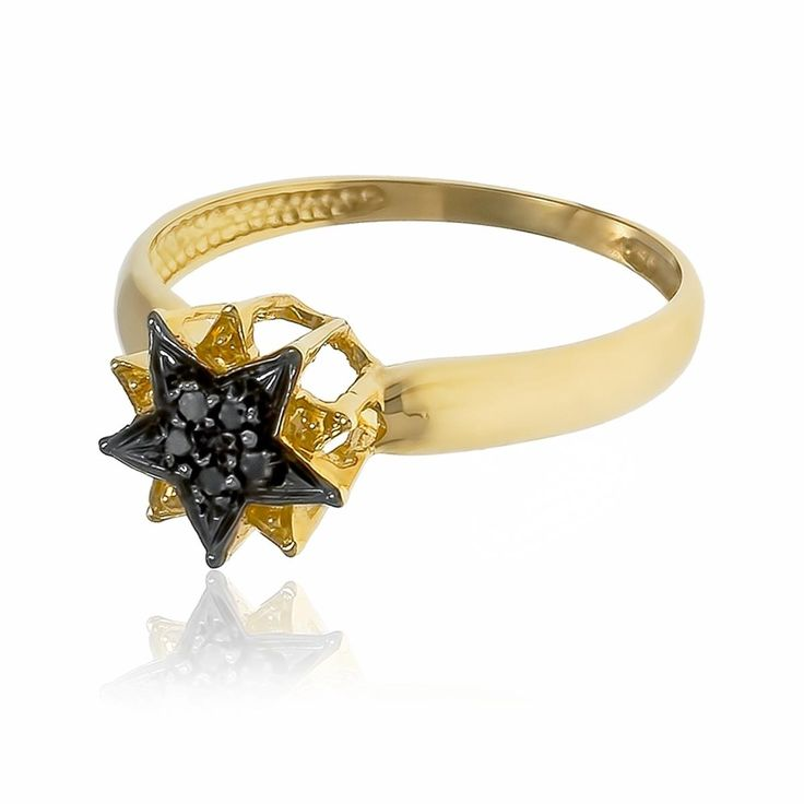 Anel Estrelas com 5 Diamantes Negros¸ em Ouro Amarelo com Detalhe em Ródio Negro