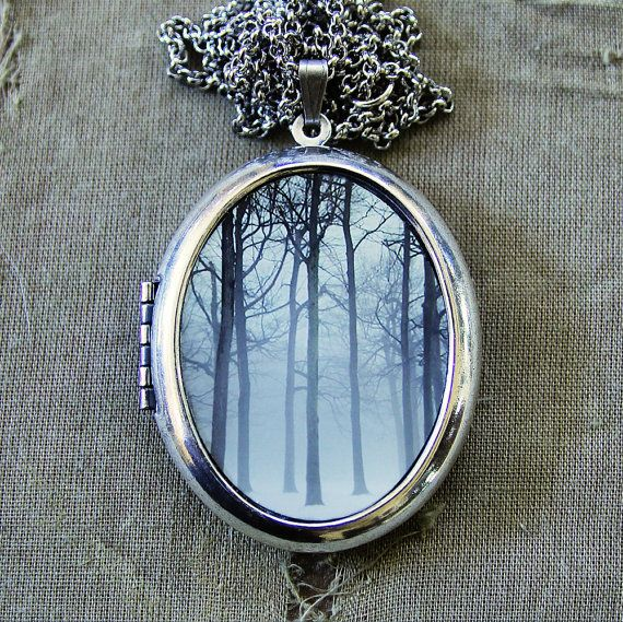RESERVED for Dakotah - Silver Photo Locket - Ink and Snow - Winter Fog and Trees…