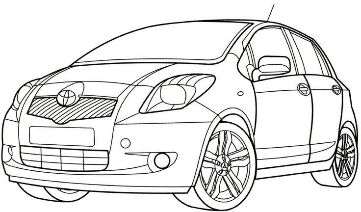 Toyota Yaris Coloring Page รถยนต์