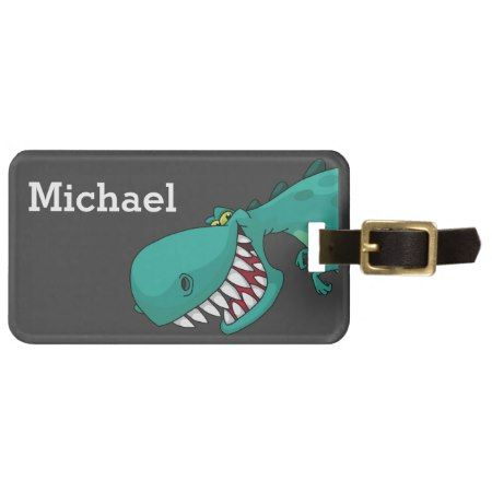 Sneaky Dinosaur Illustration Luggage Tag - tap, personalize, buy right now!