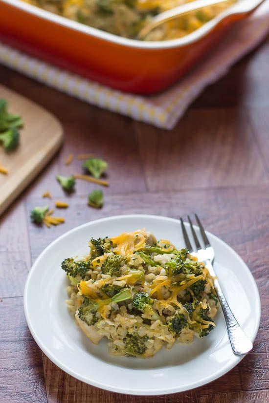 Cheesy Chicken Broccoli Rice Casserole. A healthy recipe for a classic comfort-food casserole