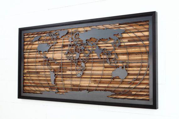 World map artwork made of old barnwood and by CarpenterCraig