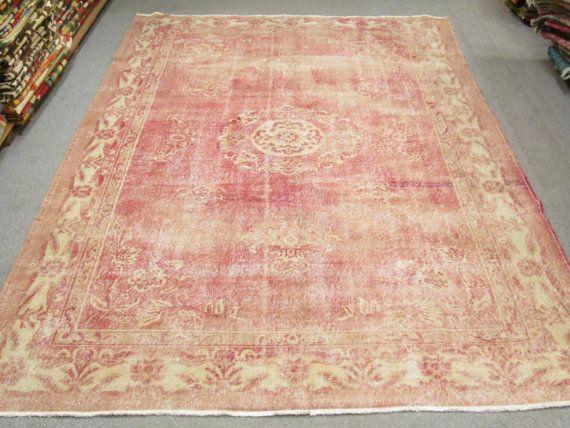 Vintage Turkish Oushak Wool Handmade Pale Pink Overdyed