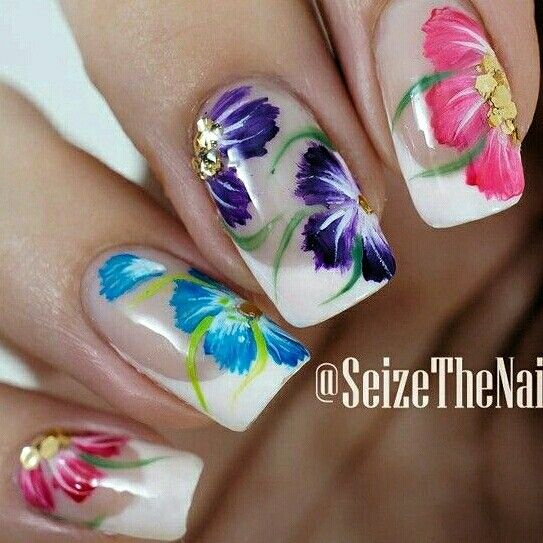Nails.. White French with 1 stroke Flowers ❤