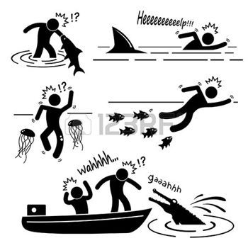 swimming sticks: Water Sea River Fish Animal Attacking Hurting Human Stick Figure Pictogram Icon