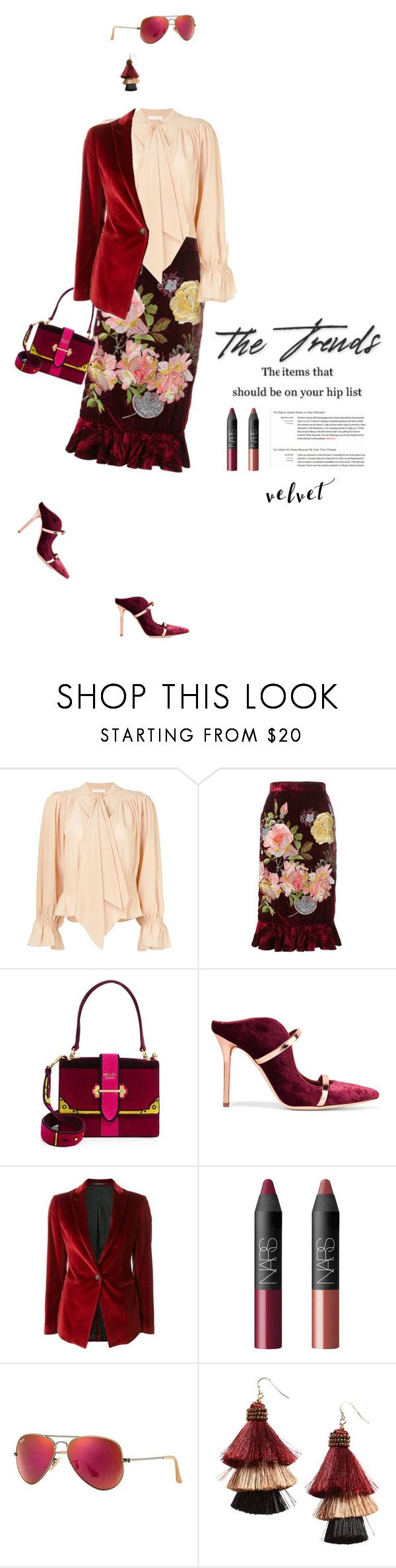 """""""The trends #819"""" by meryflower ❤ liked on Polyvore featuring Chloé, Alice Archer, Prada, Malone Souliers, Tagliatore, NARS Cosmetics, Ray-Ban, Panacea and velvet"""