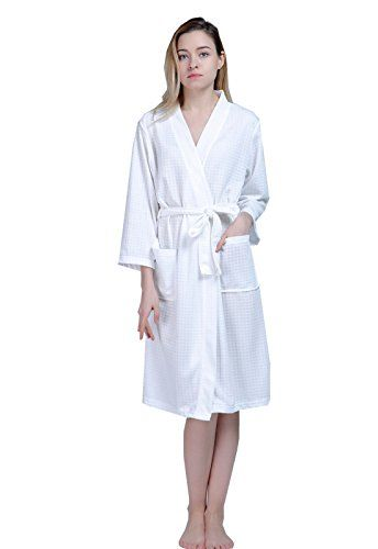 FAVORU Nee Length Bathrobes Waffle Kimono Terry Robe Short for Women ... 5b6248021