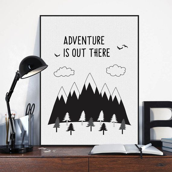 Freeshipping Nordic Black White Motivational Typography Adventure Quotes Art Print Poster Wall Art Boy Room Canvas Painting Home Decor by PicSaying