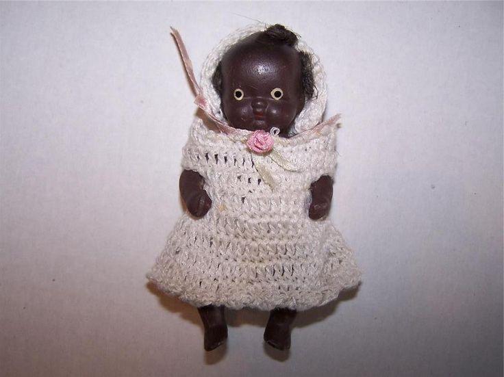 "Vintage Antique Black Americana Baby Doll 4"" Bisque Porcelain Crochet Dress"