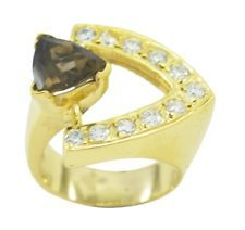 Smoky Quartz Gold Plated Ring fine Brown jewellery AU gift