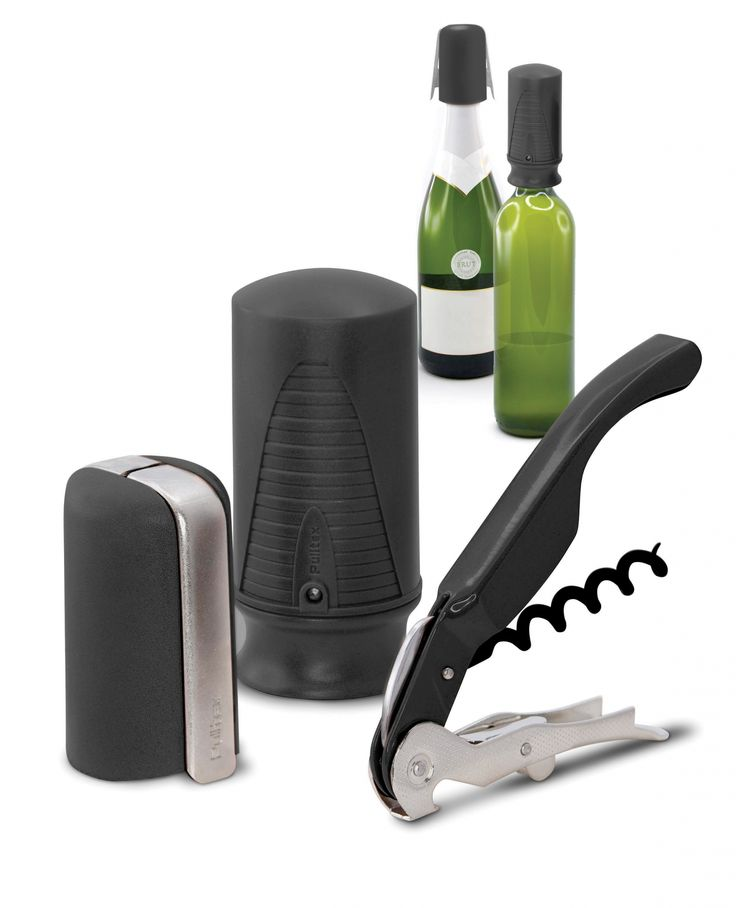 Zestaw akcesoriów do wina i szampana Wine&Champ - czarny - PULLTEX - DECO Salon #wine #wineaccessories #winelovers #giftidea #set