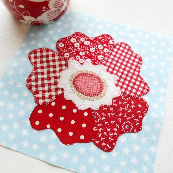 Block no. 68 - Wild Roses.  A very simple applique block designed by Pat Sloan.