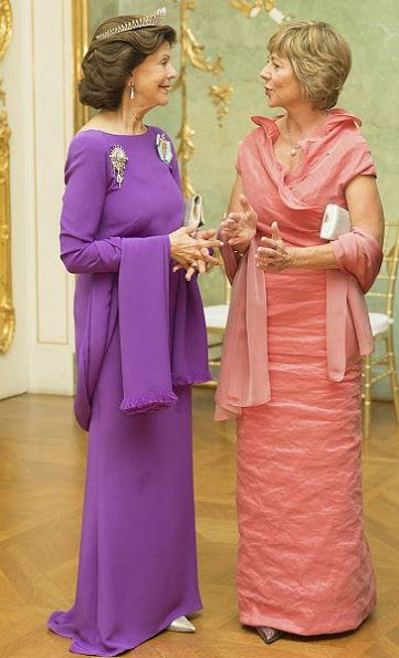 On the second day of Swedish royal couple's visit to Germany, King Carl Gustaf and Queen Silvia, German President Joachim Gauck, his partner Daniela Schadt attended a official banquet hosted by Sweden at the Charlottenburg Palace on October 6, 2016 in Berlin, Germany. The Swedish royal couple is on a four-day visit to Germany.