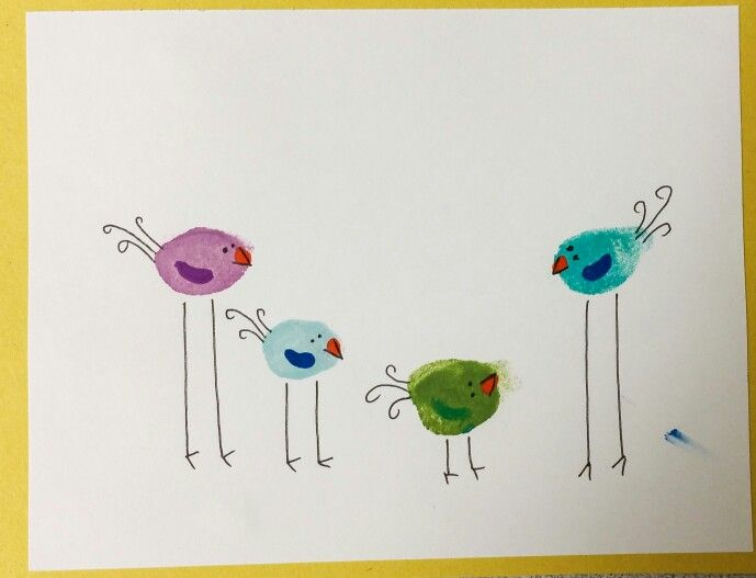 Fingerprint birds preschool art