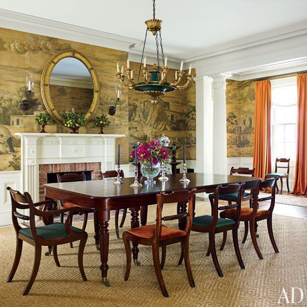 A Picturesque New York Farmhouse Embodies Historical Elegance Traditional Dining RoomsTraditional