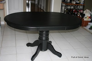 how to paint a wood table and chairs, always liked black tables! Then I could do fun chairs!