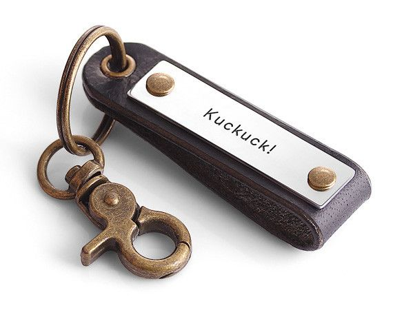 Handstamp Leather Keychain - Personalized Leather Keychain - Custom Leather Keychain for Men
