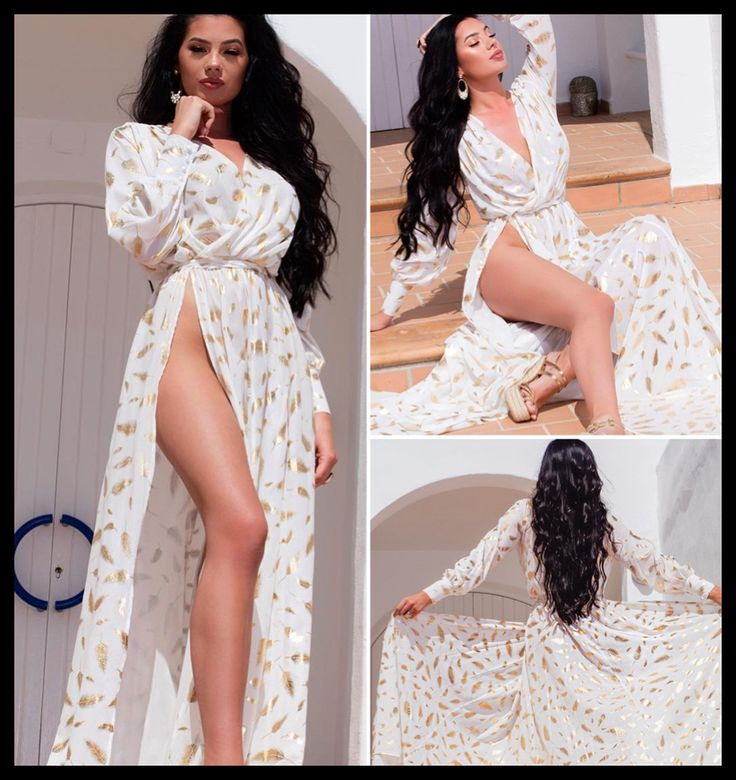 Gold Feather Print White Sexy High Split Leg Robe Dress 4 Sizes