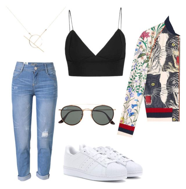 Untitled #134 by ioannagesouli on Polyvore featuring polyvore fashion style Gucci WithChic adidas Originals A Weathered Penny Ray-Ban clothing