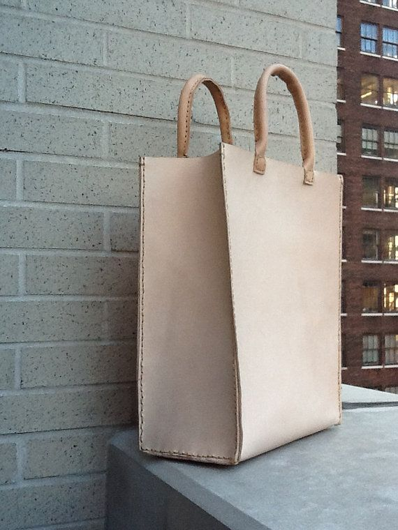 Oversized Leather tote bag hand stitched by LUSCIOUSLEATHERNYC, $425.00
